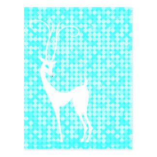 White Reindeer on Icy Blue Winter Postcard