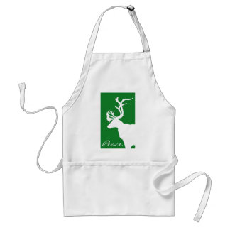 White Reindeer Peace Adult Apron