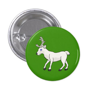 White Reindeer with Antlers Button