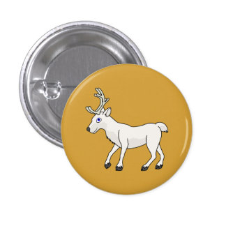 White Reindeer with Antlers Pinback Button