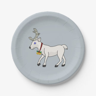 White Reindeer with Gold Jingle Bells & Holly Paper Plate