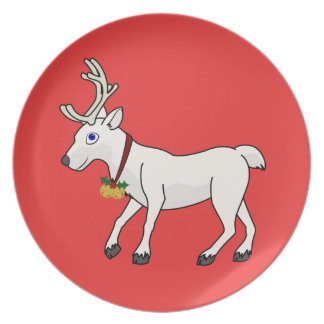 White Reindeer with Gold Jingle Bells & Holly Plate