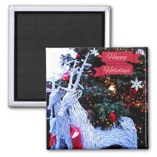 White Reindeers 2 Inch Square Magnet