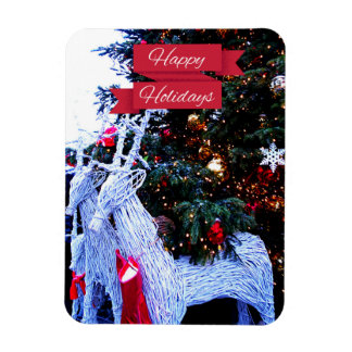 White Reindeers Rectangular Photo Magnet