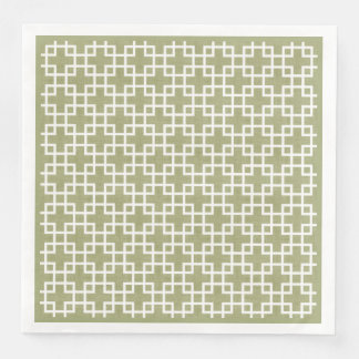 White Retro Chic Squares Pattern On Olive Green Paper Dinner Napkin