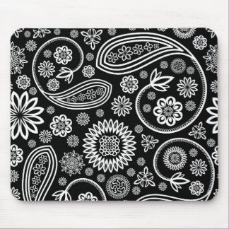 White Retro Floral Design On Black Mouse Pad
