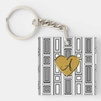 White retro squares monogram Single-Sided square acrylic keychain