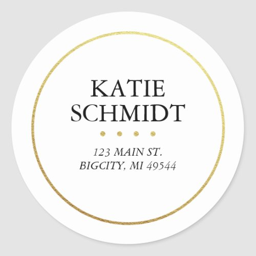 White Return Address Label with Faux Gold Foil