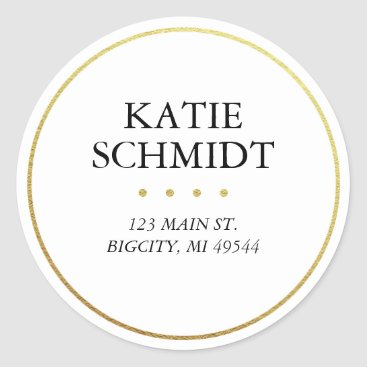 K8Inked White Return Address Label with Faux Gold Foil