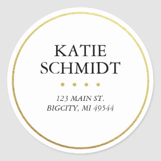 White Return Address Label with Faux Gold Foil Classic Round Sticker