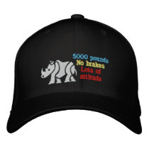 white rhino attitude embroidered baseball hat