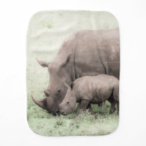 White Rhino & Baby Burp Cloth