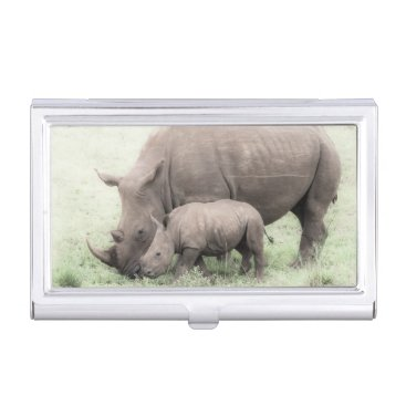 Professional Business White Rhino & Baby Business Card Holder