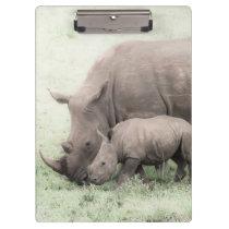 White Rhino & Baby Clipboard