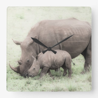 White Rhino & Baby Clock