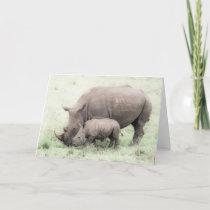 White Rhino & Baby Greeting Card