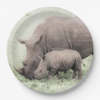 White Rhino & Baby Paper Plates