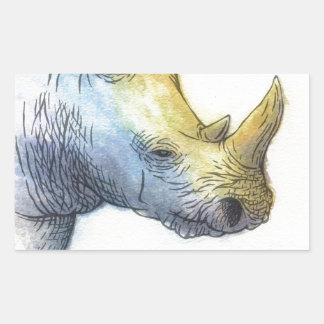 White Rhino Rectangular Sticker
