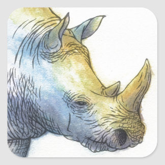 White Rhino Square Sticker