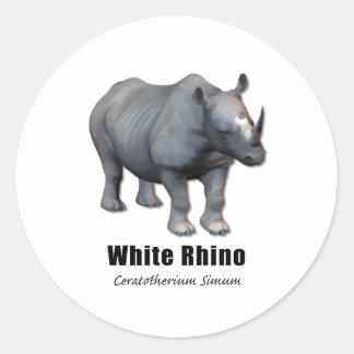 White Rhino Round Sticker