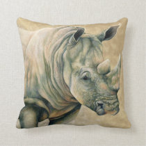 White Rhino Throw Pillow