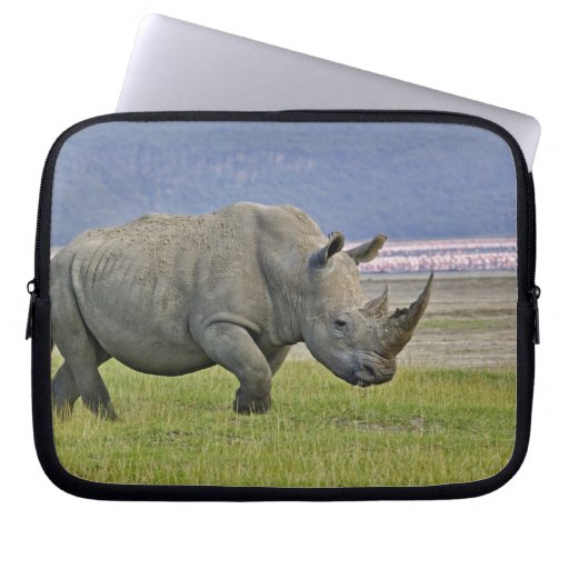 White Rhinoceros and distant Lesser Flamingos, Laptop Computer Sleeves