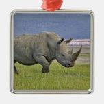 White Rhinoceros and distant Lesser Flamingos, Metal Ornament