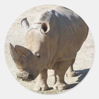 White Rhinoceros Rhino Classic Round Sticker