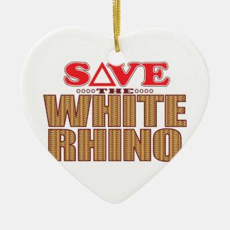 White Rhinoceros Save Ceramic Ornament