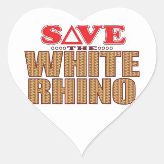 White Rhinoceros Save Heart Sticker