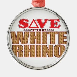 White Rhinoceros Save Metal Ornament