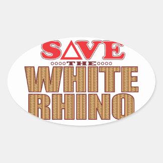 White Rhinoceros Save Oval Sticker