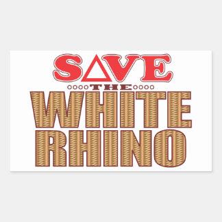 White Rhinoceros Save Rectangular Sticker