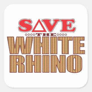 White Rhinoceros Save Square Sticker