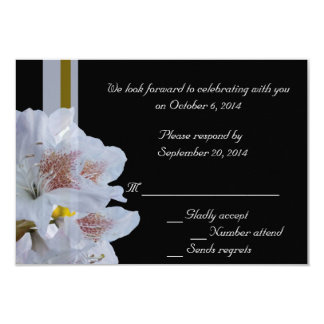 white rhododendron flowers RSVP card