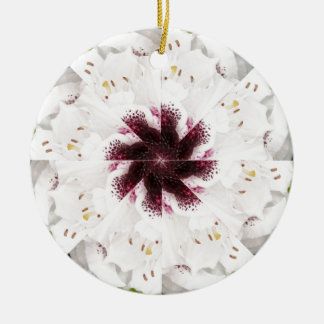 White Rhododendron Mandala Ornament