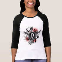 White Ribbon And Wings Bone Cancer T-Shirt