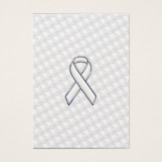 White Ribbon Awareness Applique on Houndstooth Business Card