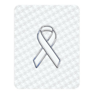 White Ribbon Awareness Applique on Houndstooth Card