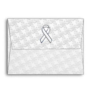 White Ribbon Awareness Applique on Houndstooth Envelope