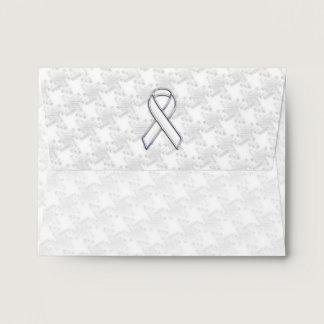 White Ribbon Awareness Applique on Houndstooth Envelope