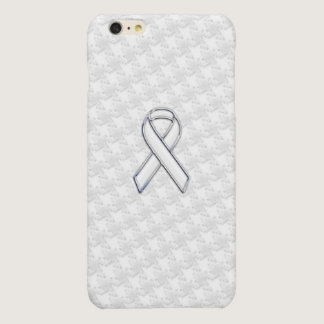 White Ribbon Awareness Applique on Houndstooth Glossy iPhone 6 Plus Case