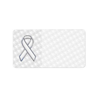 White Ribbon Awareness Applique on Houndstooth Label