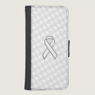 White Ribbon Awareness Applique on Houndstooth Wallet Phone Case For iPhone SE/5/5s