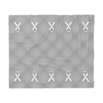 White Ribbon Awareness Carbon Fiber Print Fleece Blanket