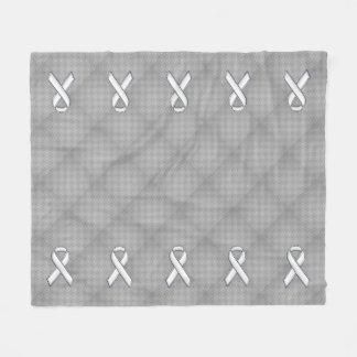 White Ribbon Awareness Carbon Fiber Print Fleece Blanket
