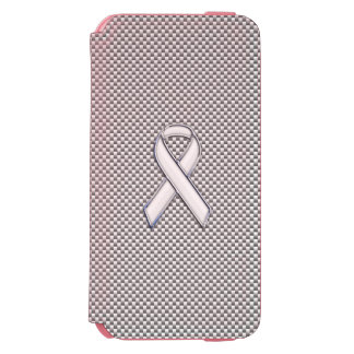 White Ribbon Awareness Carbon Fiber Print iPhone 6/6s Wallet Case