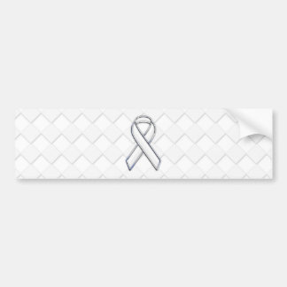 White Ribbon Awareness on Checkers Print Bumper Sticker