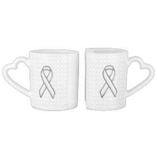 White Ribbon Awareness on Checkers Print Coffee Mug Set