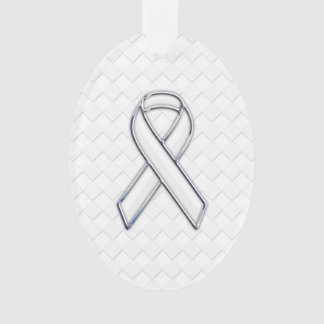 White Ribbon Awareness on Checkers Print Ornament